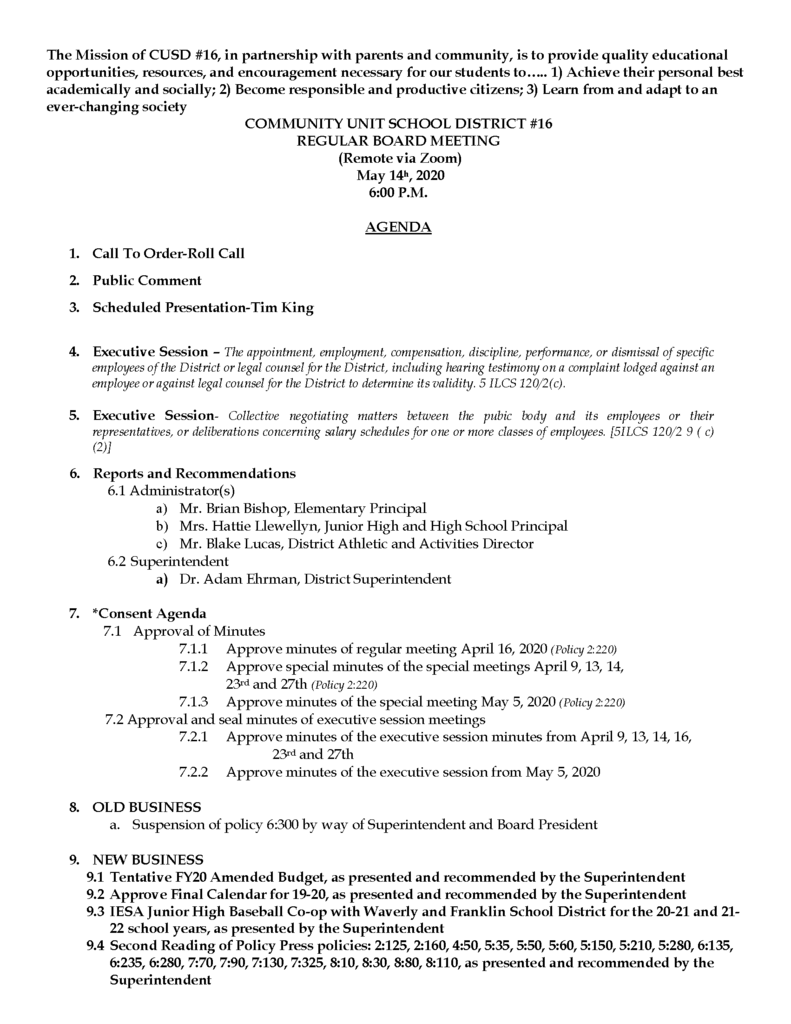 Agenda for BOE meeting 5.14.20