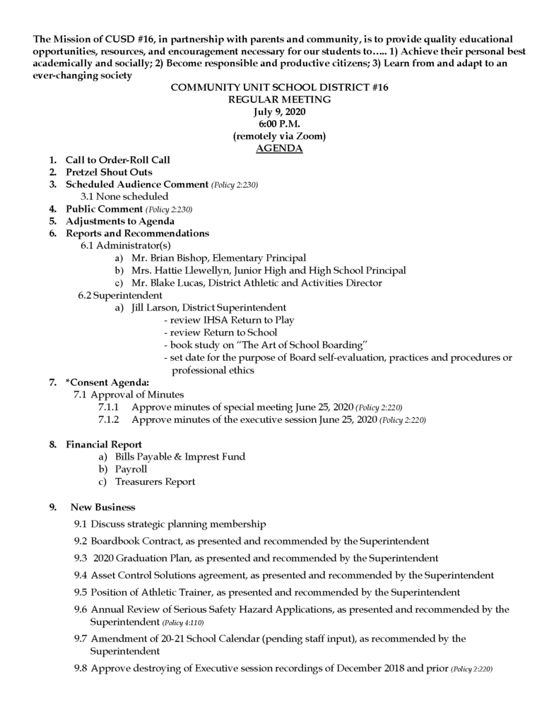 7.9.2020 Bd. Meeting Agenda
